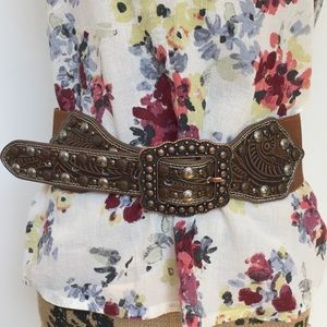 Angel Ranch Tooled and studded Leather Belt